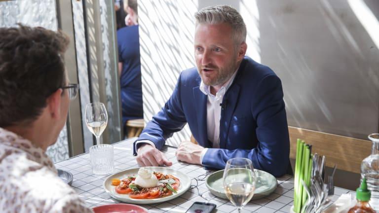 Curry and journalist Karl Quinn share the burrata salad.