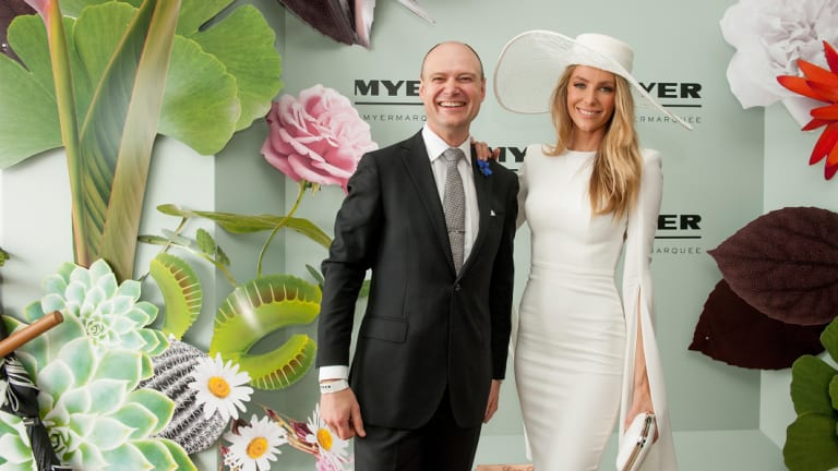 Former Myer CEO Richard Umbers and Jenifer Hawkins at the Myer marquee in 2015.