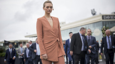 Gemma Ward, in Bianca Spender, shows pastel with an edge at the Caulfield Cup.