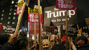 Londoners protested Donald Trump's controversial anti-Muslim travel ban in 2017.