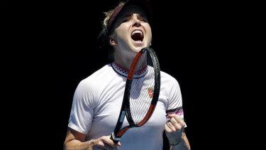 Ukraine's Elina Svitolina celebrates her victory after American Madison Keys.