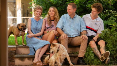 Dr Richard Harris (known as Dr Harry) with wife Fiona, daughter Millie and son Charlie, with the family's dogs Rubie and Alfie.  Harry was the anesthesiologist who helped rescue 12 boys trapped in a cave in Thailand and has been nominated for 2019 Australian of the Year.