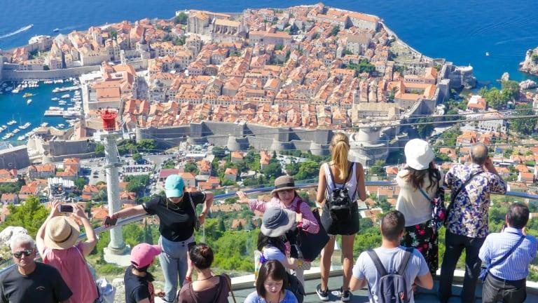Tourists enjoy the sites of Dubrovnik, Croatia.