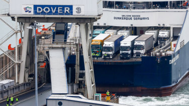 The Dunkerque Seaways passenger and ro-ro carg ship loaded with trucks docks in Dover on  January 5.  The port accounts for 17 per cent of the UK's trade in goods.