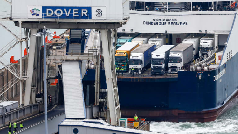 The Dunkerque Seaways passenger ship and the ro-ro cargo ship loaded with trucks in Dover on 5 January. represents 17% of the trade in goods in the United Kingdom.