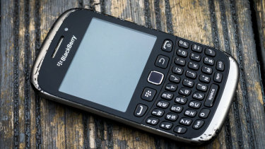 A BlackBerry 9320 Curve such as this has become central to the trial of four men in the NSW District Court.