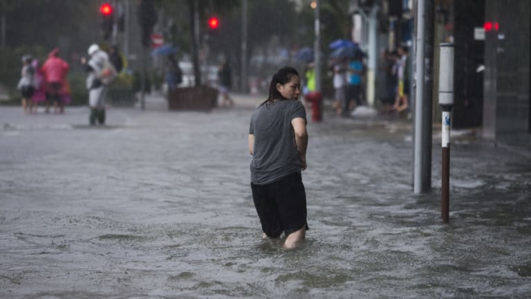 Typhoon Mangkhutbelted Hong Kong with mammoth gales and rain as it moved along the coast of China's Guangdong province.