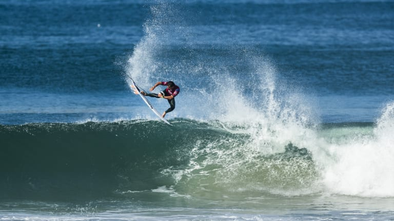 In the hunt: Julian Wilson at the Quiksilver Pro France, which he won.