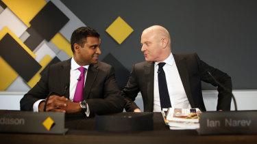 Rob Jesudason, left, with former CBA CEO Ian Narev.