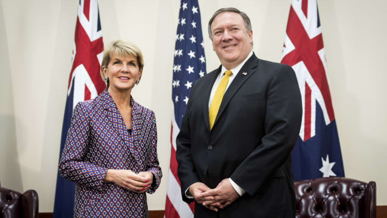 Julie Bishop, Australia's foreign minister, left, and Mike Pompeo, US secretary of state, stand for photographs during a bilateral meeting at the Australia-US Ministerial (AUSMIN) consultations at Stanford University.