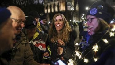 Anti-Brexit demonstrators react to the vote in Westminster.