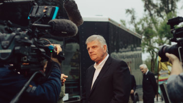 Franklin Graham at a media event for his Decision America tour of California in May 2018.