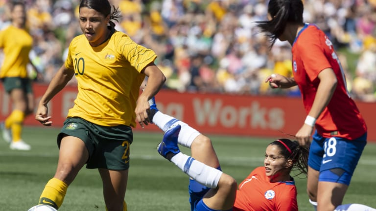Star turn: Sam Kerr leaves defenders in her wake but she couldn't turn the tide in Penrith.