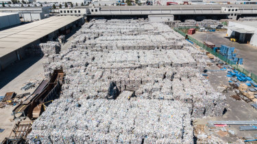 SKM Service's vast stockpile of recycling material at its Laverton North facility.