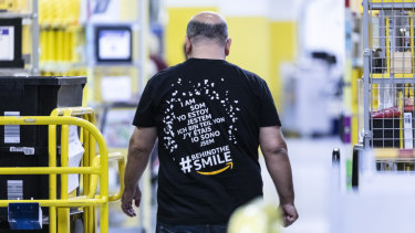 An employee at an Amazon fulfilment centre in Koblenz, Germany, on Friday.