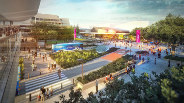 Concept images for the new Metro Cultural Centre station at South Brisbane, part of the council's Brisbane Metro plans.
