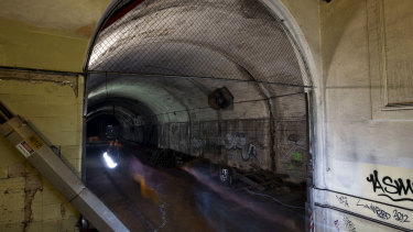 The tunnels sit about 30 metres below street level, snaking beneath Hyde Park and Macquarie Street.