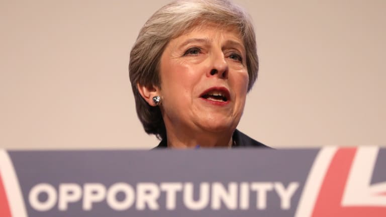 Theresa May delivers her keynote speech during the Conservative Party annual conference in Birmingham.