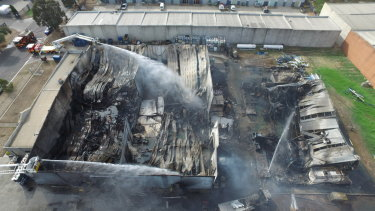 The Campbellfield factory a day after it was engulfed in flames.