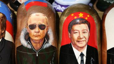 Matryoshka dolls depict new best friends Vladimir Putiin and Xi Jinping.