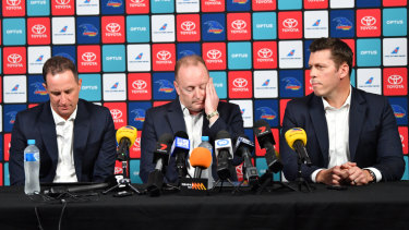 L-R: Former Crows coach Don Pyke, chairman Rob Chapman and chief executive Andrew Fagan.