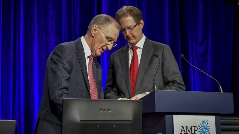 AMP Executive Chairman Mike Wilkins, left, and David Cullen at the AGM