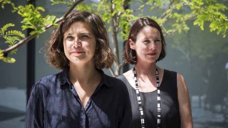 Artist Esther Stewart, left, and curator Fleur Watson.
