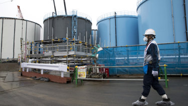 An employee at the tsunami-crippled Fukushima nuclear power plant.