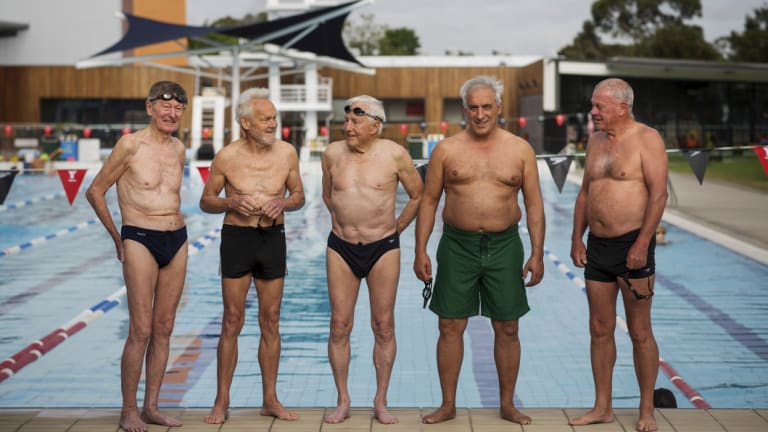 L-R James Wiley, 82, Lou Coldebella, 84, Graham Polkinghorne, 88, Angelo Natoli, 65 and John Tait, 69, regularly go for a swim together.