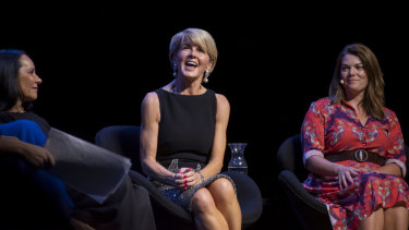 Linda Burney, Julie Bishop and Sarah Hanson-Young on a panel at the Leading While Female Talk at Opera House on Sunday.