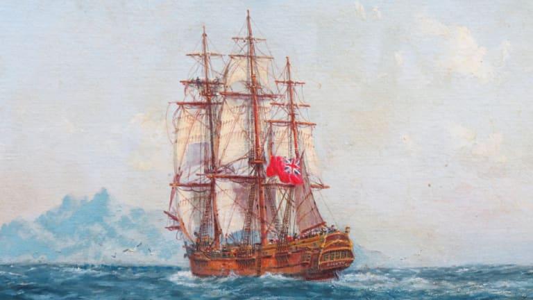 HMS Bounty off Tahitiby John Allcot (1968).