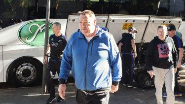 Steve Hansen outside the All Blacks' hotel in Sydney in 2016.