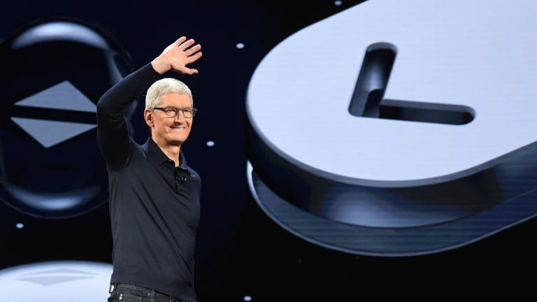 Apple chief executive Tim Cook at the WWDC keynote.