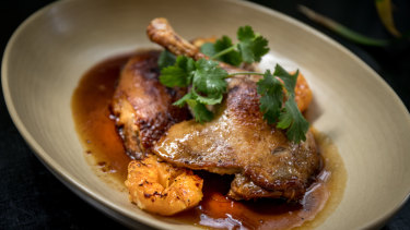 The Golden Pig cooking school has opened a bar and restaurant, serving dishes including duck.