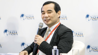 Wu Xiaohui, then chairman and CEO of Anbang Insurance Group speaks during the Boao Forum last year.