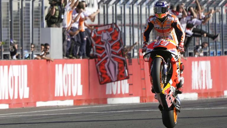 Powering home: Marc Marquez after crossing the finish line to win the Japanese Motorcycle Grand Prix.