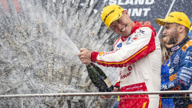 Imperious: Scott McLaughlin celebrates after winning race 1 of the Phillip Island SuperSprint Event 4 .