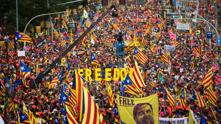 Catalan separatist authorities had called for people to flood the streets of Barcelona on Tuesday in a march calling for independence from Spain.