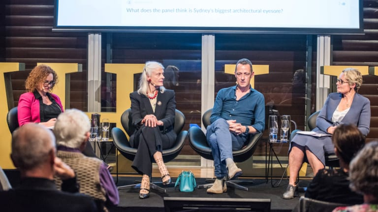 The SMH Live panellists: Herald journalist Helen Pitt, Penelope Seidler AM, Trustee, Historic Houses Trust, Adam Haddow, Director of Architecture at architects and design firm SJB, and Dr Caroline Butler-Bowdon.