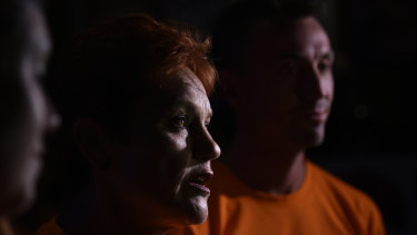One Nation's Pauline Hanson with her media adviser James Ashby.