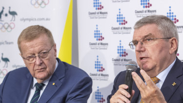 Australian Olympic Committee president John Coates and Dr Bach in Brisbane.