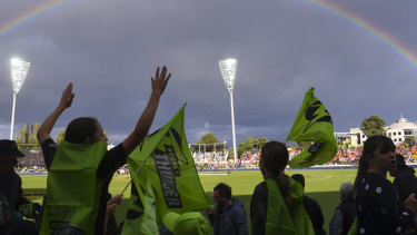 A young fan was hit by a six at Manuka Oval on Saturday.