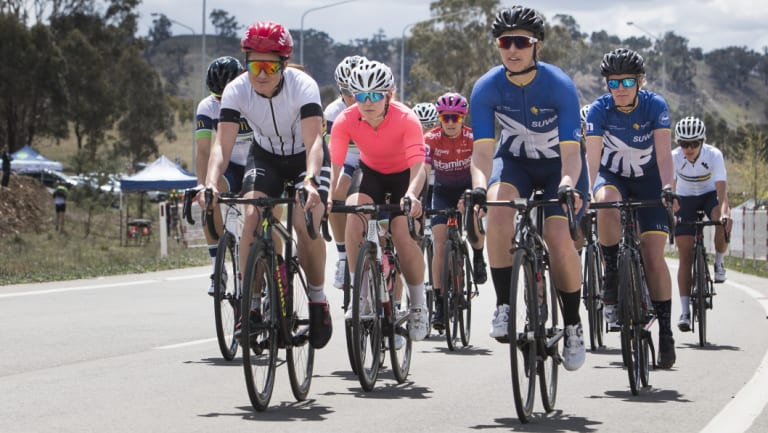 The start of stage two women's A-Grade at Mt Majura on Saturday.