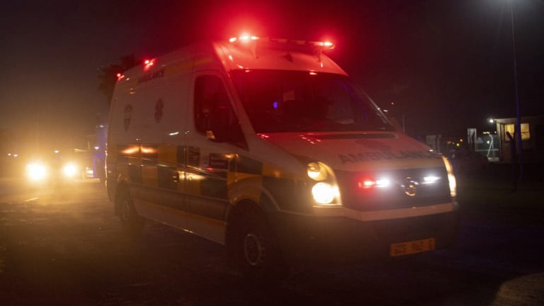 An emergency vehicle leaves the Rheinmetall Denel Munition depot, at Somerset West, near Cape Town, South Africa.