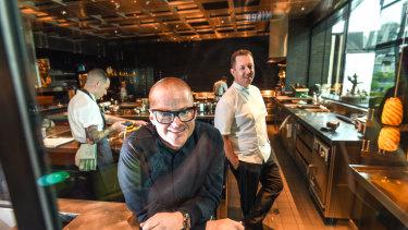 Dinner by Heston restaurant in Melbourne. Heston Blumenthal with chef director Ashley Palmer-Watts.