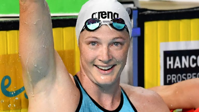 Comeback: Cate Campbell celebrates after winning the final of the womens 50 metre freestyle at the Gold Coast Aquatic Centre.