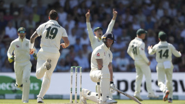 Ben Stokes reacts after being dismissed by James Pattinson for just eight.