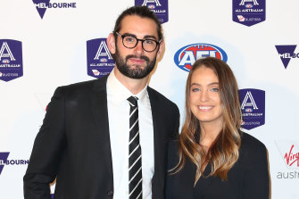 Star Collingwood ruckman Brodie Grundy with his partner Rachael Wertheim, who is a physio working in hospital emergency and intensive care wards.