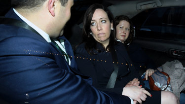 Kaila Murnain leaves the ICAC on Wednesday. She has been suspended as NSW Labor's general secretary.