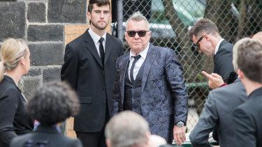 Jimmy Barnes outside Ormond Hall for Michael Gudinski's funeral service on Wednesday.